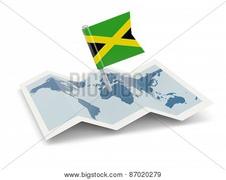 Map With Flag Of Jamaica