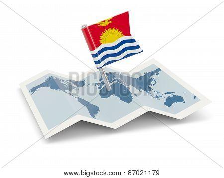Map With Flag Of Kiribati