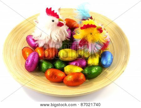 An isolated plate with Easter eggs