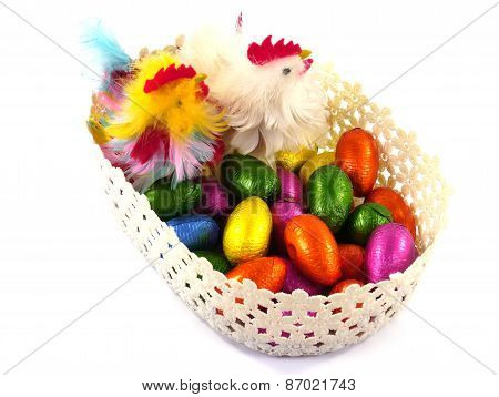Chickens and chocolate eggs in a basket
