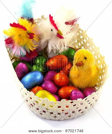 An isolated basket with chickens