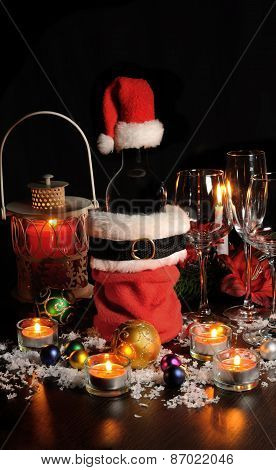 Bottle Of Wine In Christmas Attire