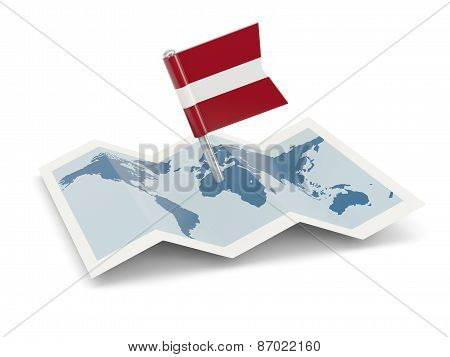 Map With Flag Of Latvia
