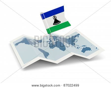 Map With Flag Of Lesotho