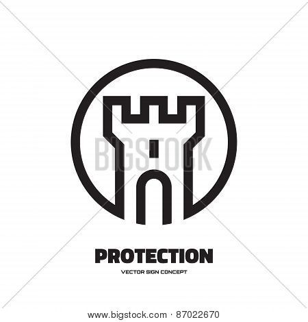 Protection - vector logo concept illustration. Abstract tower of castle illustration.
