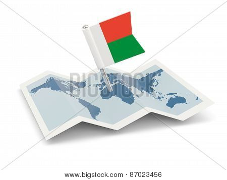 Map With Flag Of Madagascar