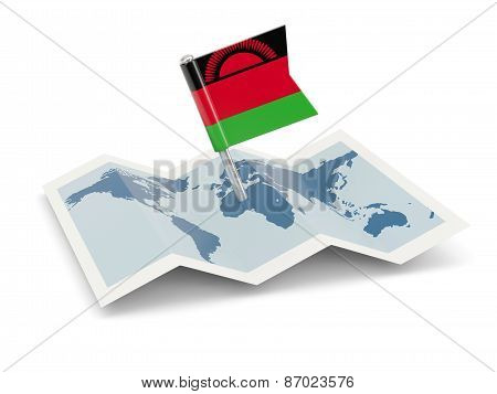 Map With Flag Of Malawi