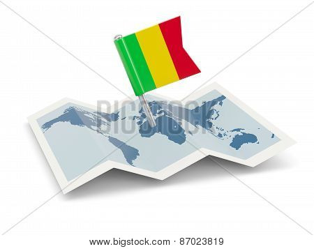 Map With Flag Of Mali