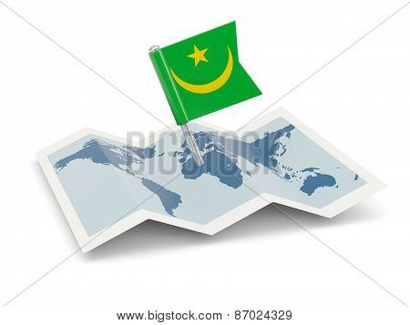 Map With Flag Of Mauritania