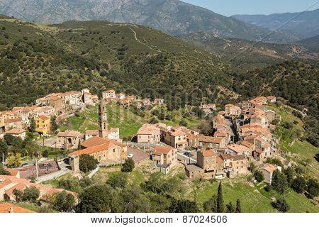 The Village Of Moltifao In The Balagne Region Of Corsica