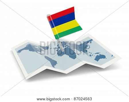 Map With Flag Of Mauritius