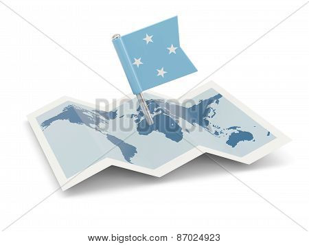 Map With Flag Of Micronesia