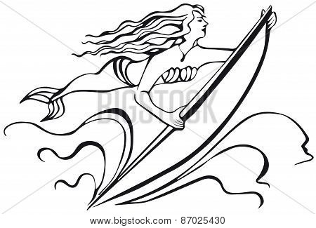 mermaid with a surfboard. silhouette of woman.