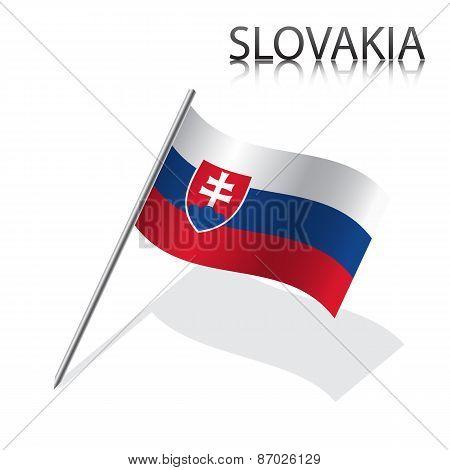 Realistic Slovak flag