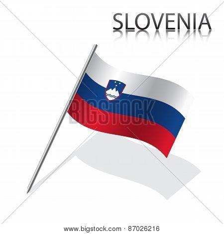 Realistic Slovenian flag