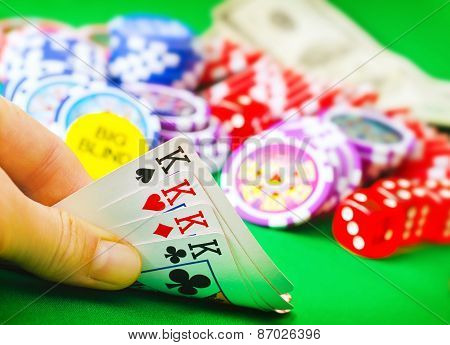 poker game cards in hand