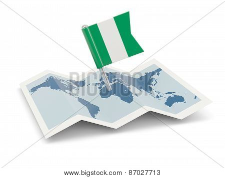 Map With Flag Of Nigeria