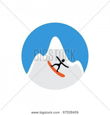 freeride, snowboarder and snowy mountain , vector logo illustration