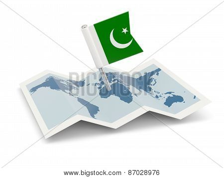Map With Flag Of Pakistan