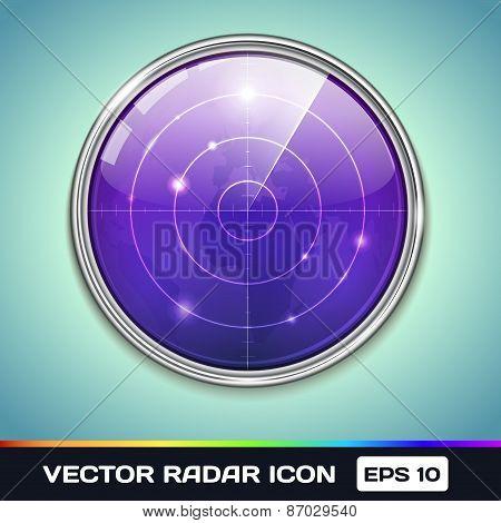 Vector Icon of Violet Radar