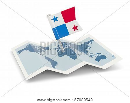 Map With Flag Of Panama