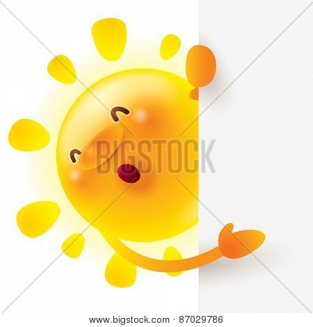 Summer sun with big sign