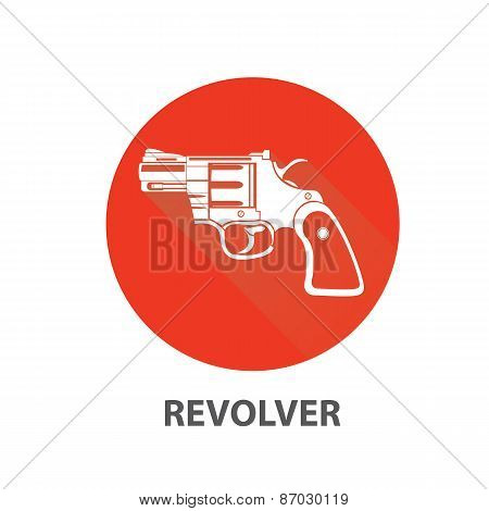 vector vintage pistol gun icon on red