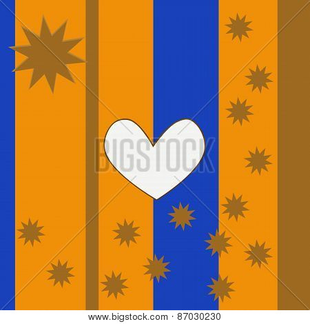 Abstract decorative gold blue background with white clear heart and golden stars
