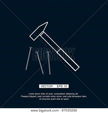 Claw hammer with steel nails. Repair equipment. Rubber handle. Contour lines vector clip art illustr