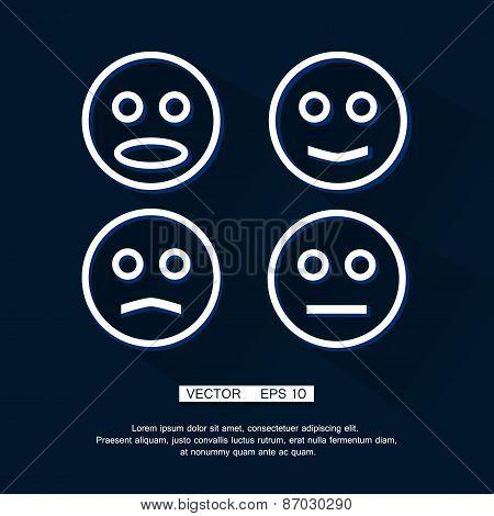 Vector linear Smile Icon Set