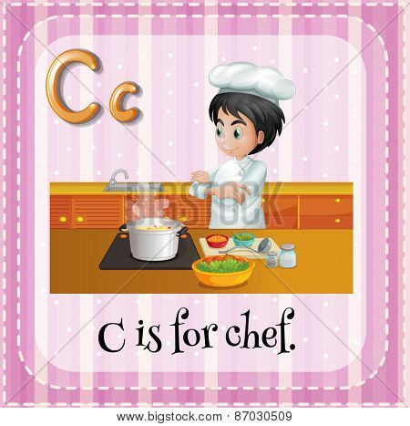 Flashcard letter C is for chef