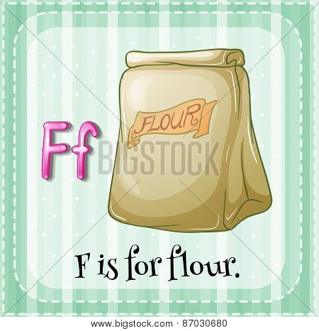 Flashcard letter F is for flour