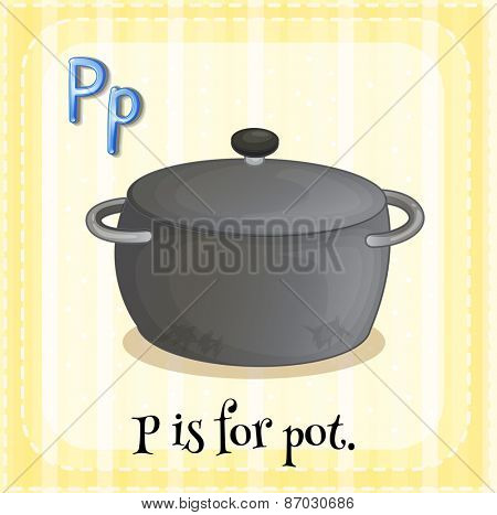 Flashcard letter p is for pot