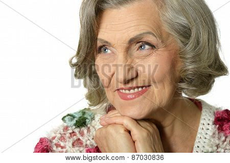 elderly woman  on white background
