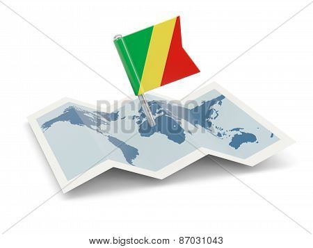 Map With Flag Of Republic Of The Congo