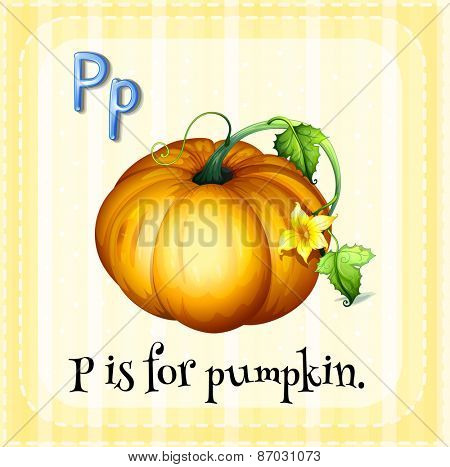 Flashcard letter p is for pumpkin