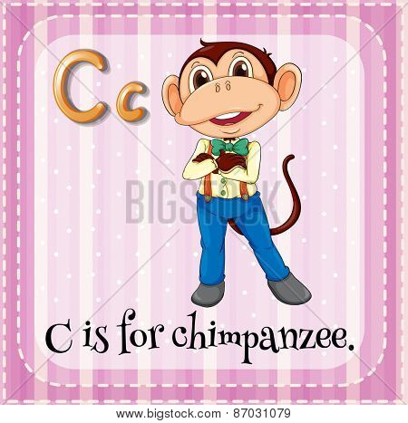 Flashcard letter C is for chimpanzee