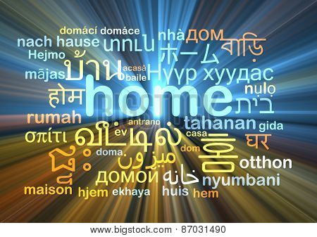 Background concept wordcloud multilanguage international many language illustration of home glowing light