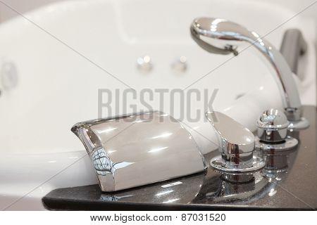 Closeup shower head in jacuzzi
