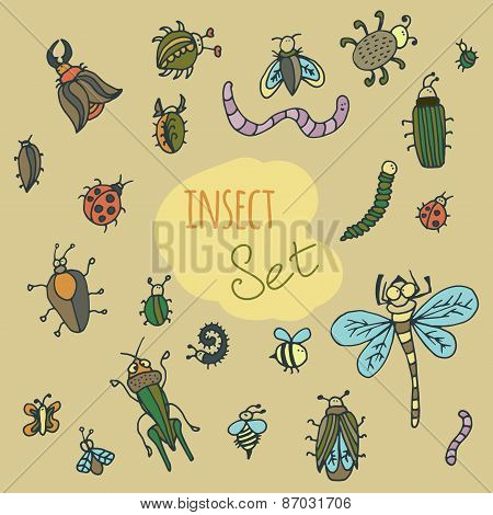 Set Of Cute Cartoon Insect