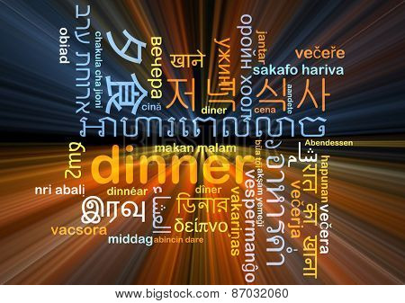 Background concept wordcloud multilanguage international many language illustration of dinner