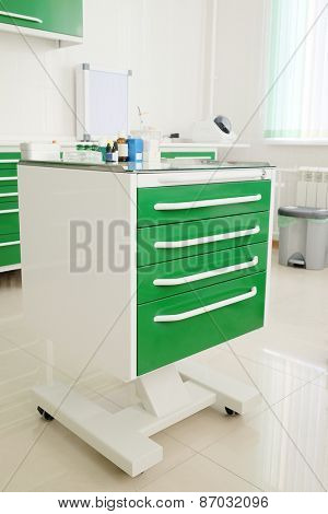 Dentist cabinet, medical bottle
