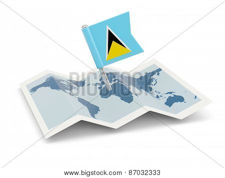 Map With Flag Of Saint Lucia