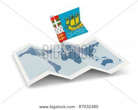 Map With Flag Of Saint Pierre And Miquelon