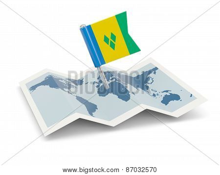 Map With Flag Of Saint Vincent And The Grenadines