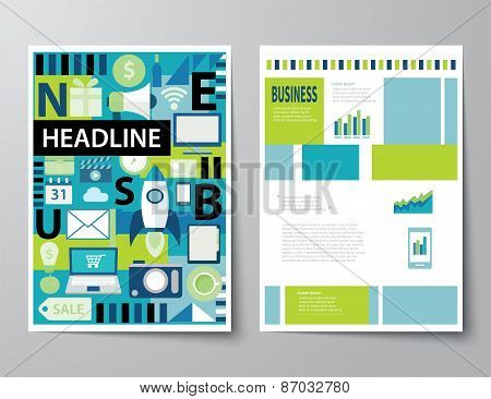 Headline Startup Set Of Magazine Cover , Flyer, Brochure Flat Design Templates