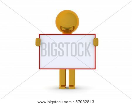 3D character holding a blank board business