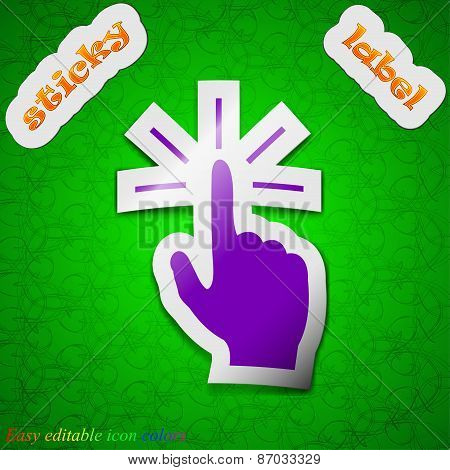Click Here Hand Icon Sign. Symbol Chic Colored Sticky Label On Green Background. Vector