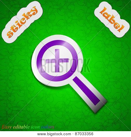 Magnifier Glass, Zoom Tool Icon Sign. Symbol Chic Colored Sticky Label On Green Background. Vector