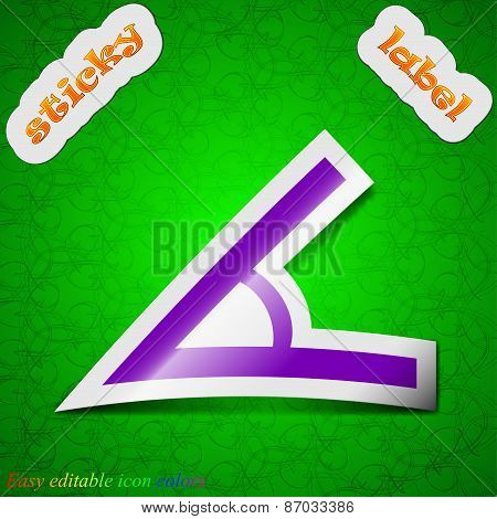 Angle 45 Degrees Icon Sign. Symbol Chic Colored Sticky Label On Green Background. Vector